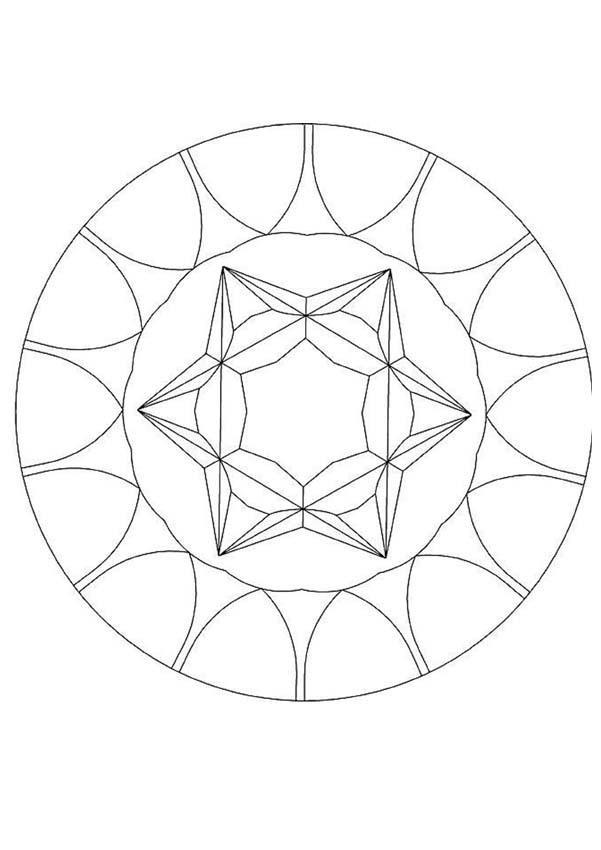 Coloriage et dessins gratuits Mandala Diamond facile à imprimer