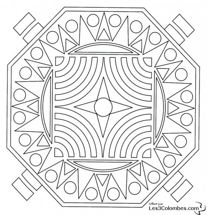 Coloriage et dessins gratuits Mandala En Ligne Dur à imprimer