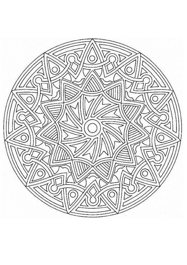 Coloriage et dessins gratuits Mandala étoilé difficile à découper à imprimer