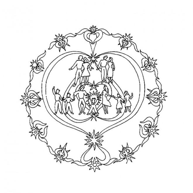 Coloriage et dessins gratuits Mandala Famille Amoureuse à imprimer