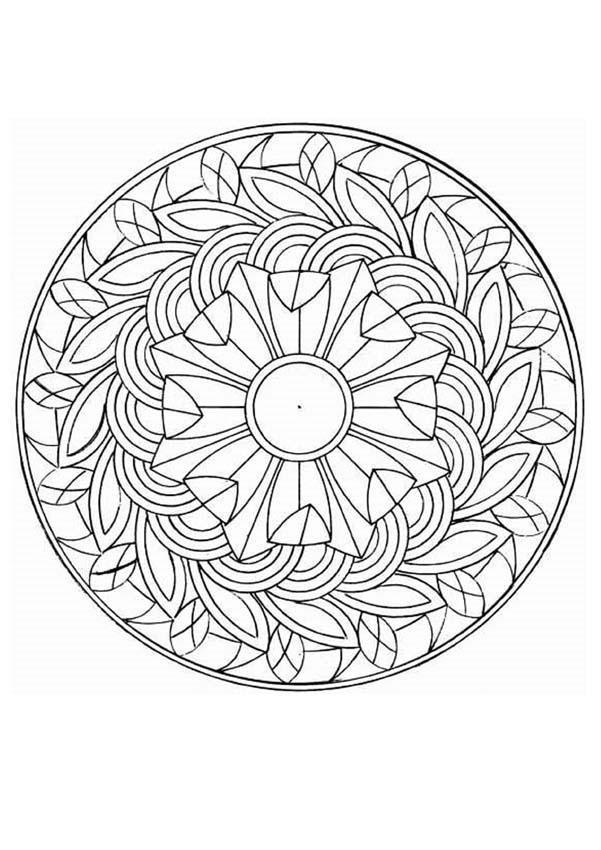 Coloriage mandala feuilles d 39 arbres dessin gratuit imprimer - Mandala coloriage en ligne ...