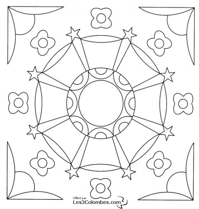 Coloriage et dessins gratuits Mandala Fleur et Étoiles facile à imprimer