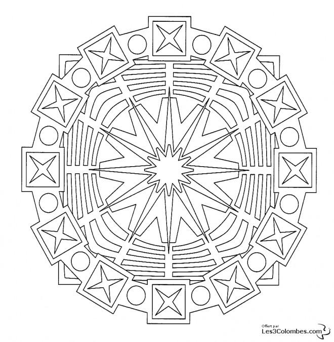 Coloriage et dessins gratuits Mandala Lignes et Formes à imprimer