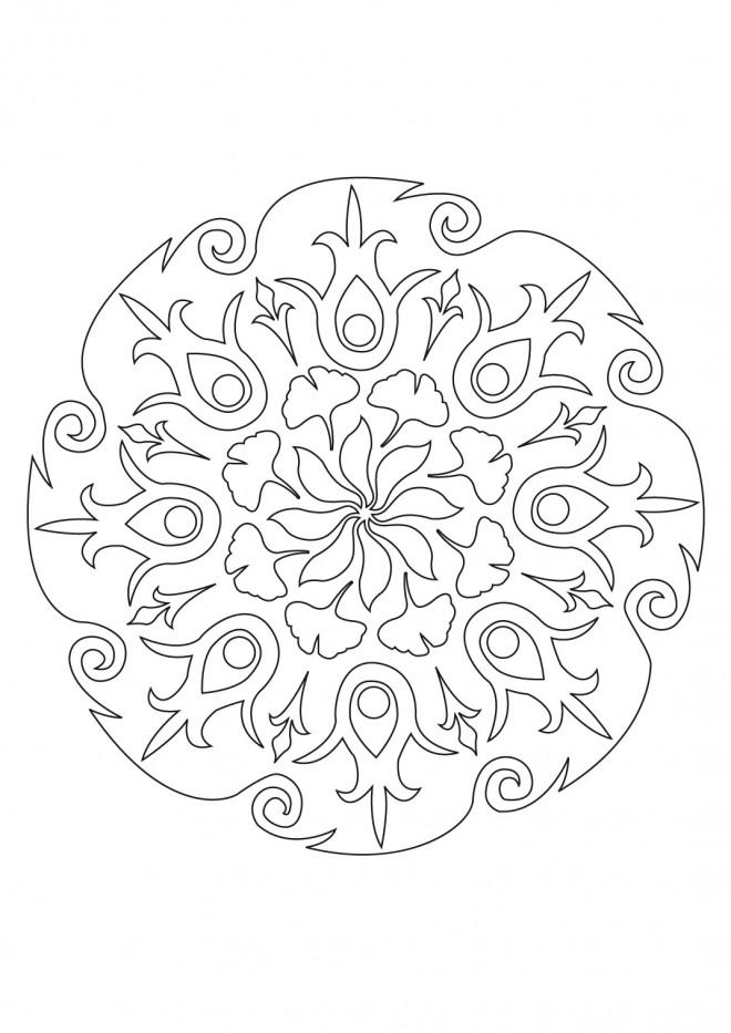 Coloriage mandala p tale de fleurs pour adulte - Coloriage fleur 8 petales ...