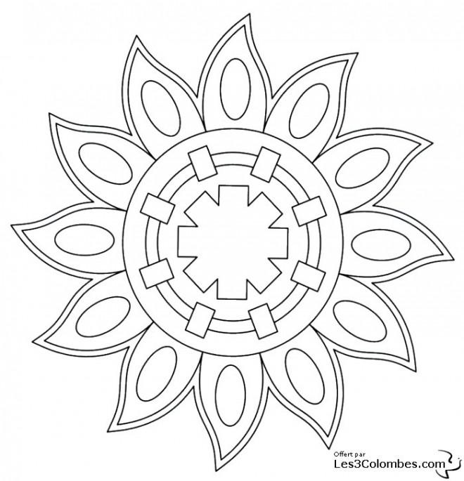 Coloriage Mandala Soleil pour Adulte dessin gratuit à imprimer