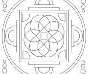 Coloriage Mandala stylisé En Ligne