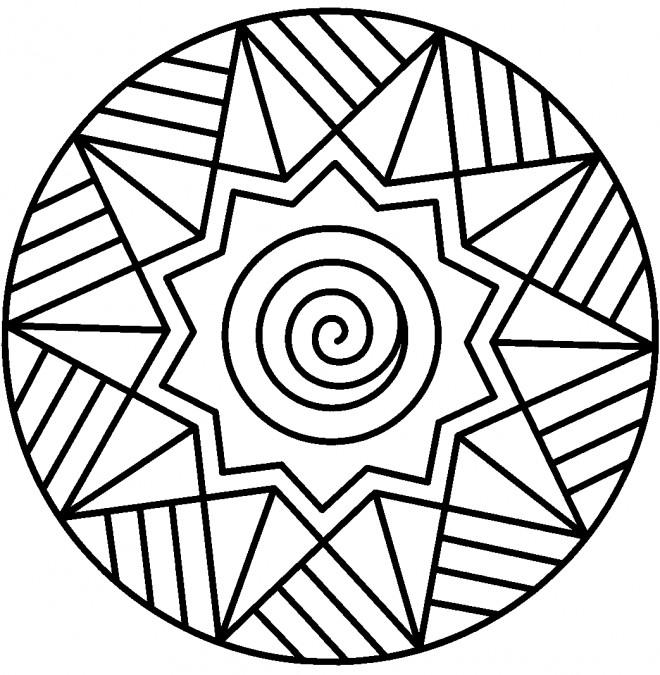 Coloriage Illustration Mandala Facile Dessin Gratuit A Imprimer