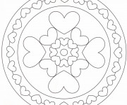 Coloriage Mandala Coeur maternelle
