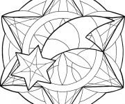 Coloriage Mandala Étoile magique Facile