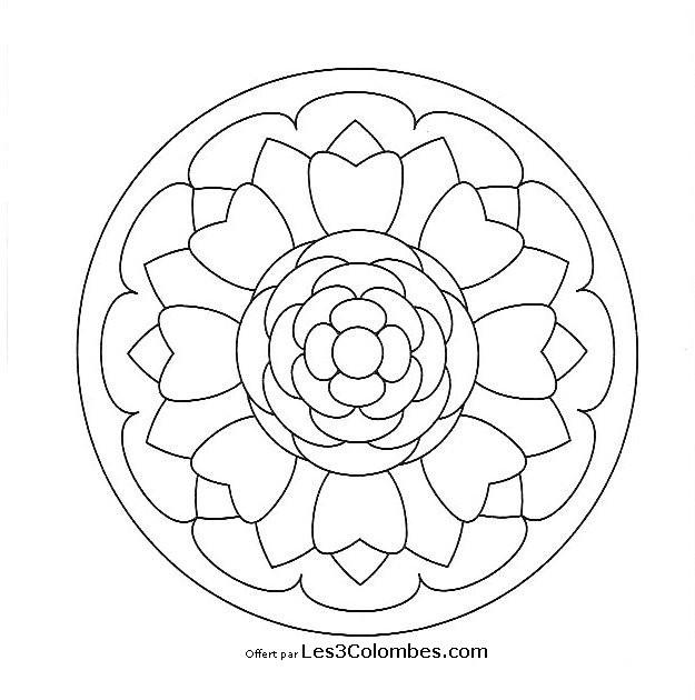 Coloriage mandala facile 3 dessin gratuit imprimer - Dessin de chouette facile ...