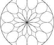 Coloriage et dessins gratuit Mandala Facile en cercle à imprimer