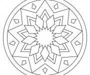 Coloriage et dessins gratuit Mandala Facile en noir et blanc à imprimer