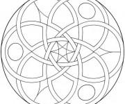 Coloriage et dessins gratuit Mandala Facile pour découpage à imprimer