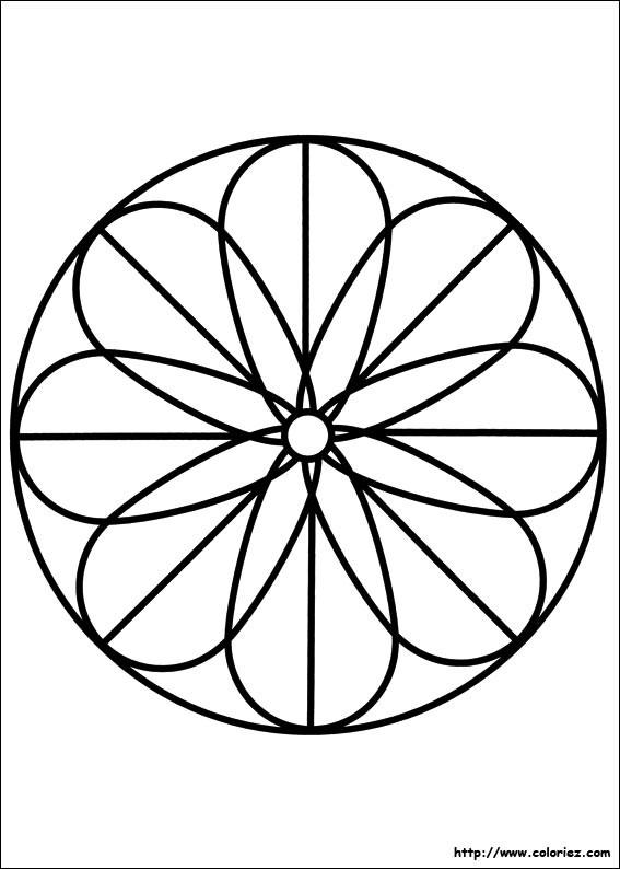 Coloriage et dessins gratuits Mandala Fleur simplifié à imprimer