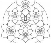 Coloriage Mandala Fleurs bien décorées