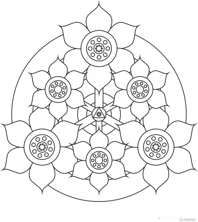 Coloriage et dessins gratuits Mandala Fleurs bien décorées à imprimer