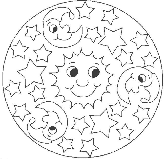 Coloriage mandala jour et nuit facile dessin gratuit - Coloriage mandala enfants ...