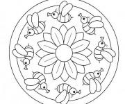 Coloriage Mandala L'abeille et La Rose Facile