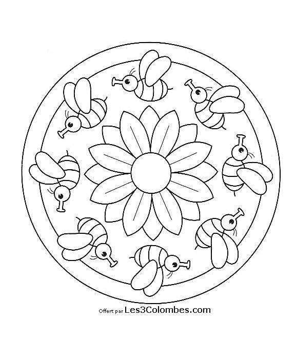 Coloriage mandala l 39 abeille et la rose facile dessin - Coloriage mandala enfants ...