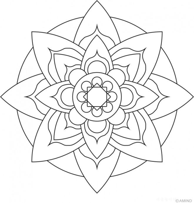 Coloriage Mandala Pétale De Fleur Facile Dessin Gratuit à