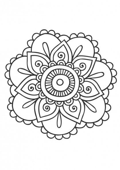 Coloriage mandala fleurs colorier dessin gratuit imprimer - Coloriage fleur tres jolie ...
