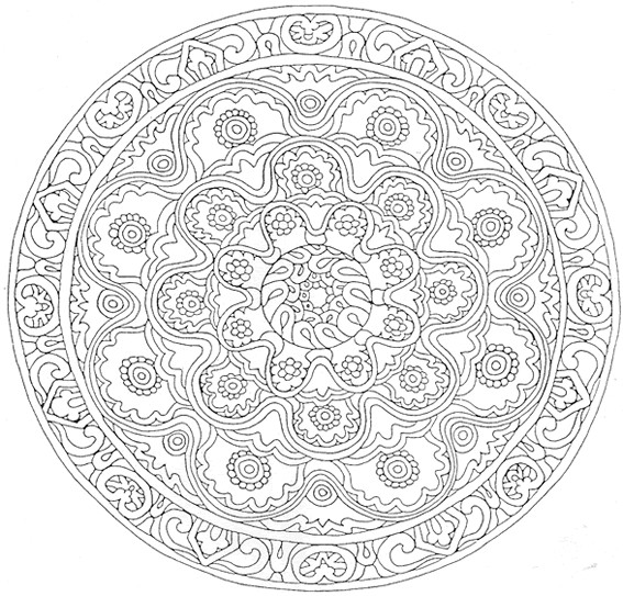 Coloriage et dessins gratuits Mandala Fleurs décorés à imprimer