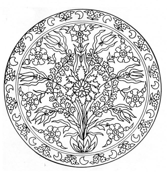 Coloriage Mandala Fleurs Et Croissant Dessin Gratuit 224