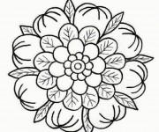 Coloriage dessin  Mandala Fleurs 13