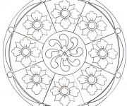 Coloriage dessin  Mandala Fleurs 5