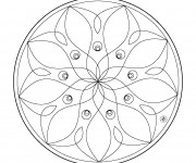 Coloriage dessin  Mandala Fleurs 8