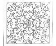 Coloriage et dessins gratuit Mandala Fleurs Destressant en noir à imprimer