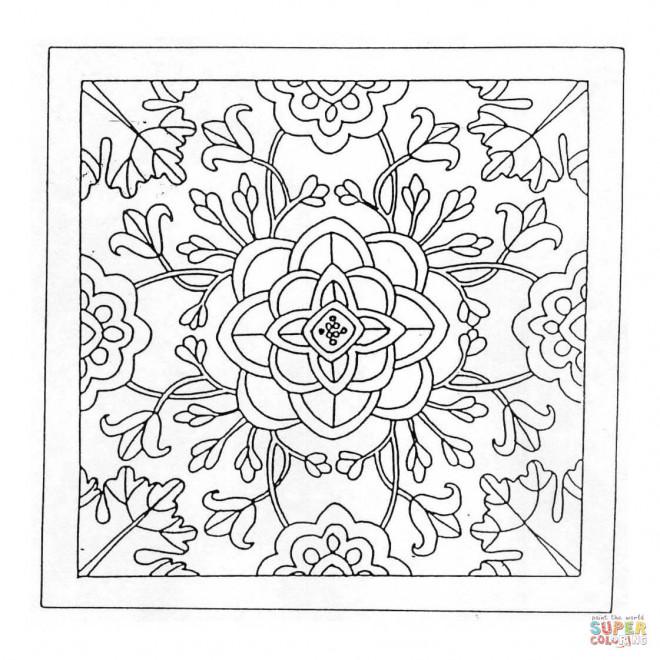 Coloriage et dessins gratuits Mandala Fleurs Destressant en noir à imprimer