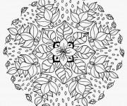 Coloriage et dessins gratuit Mandala Fleurs en Hiver à imprimer