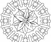 Coloriage et dessins gratuit Mandala Fleurs et Étoiles à imprimer