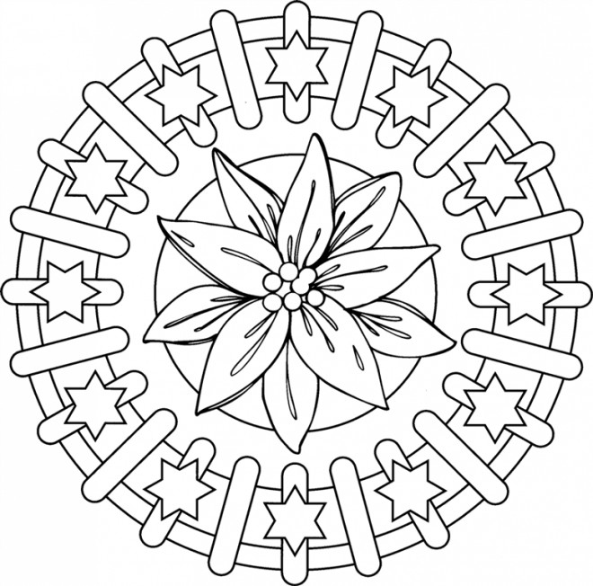 Coloriage et dessins gratuits Mandala Fleurs et Étoiles à imprimer