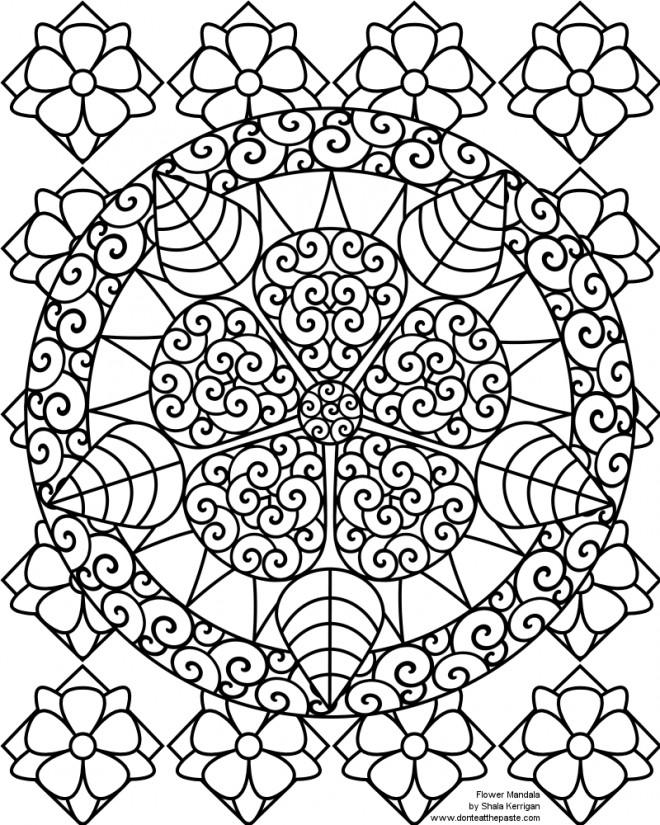 Coloriage et dessins gratuits Mandala Fleurs Superbe à imprimer