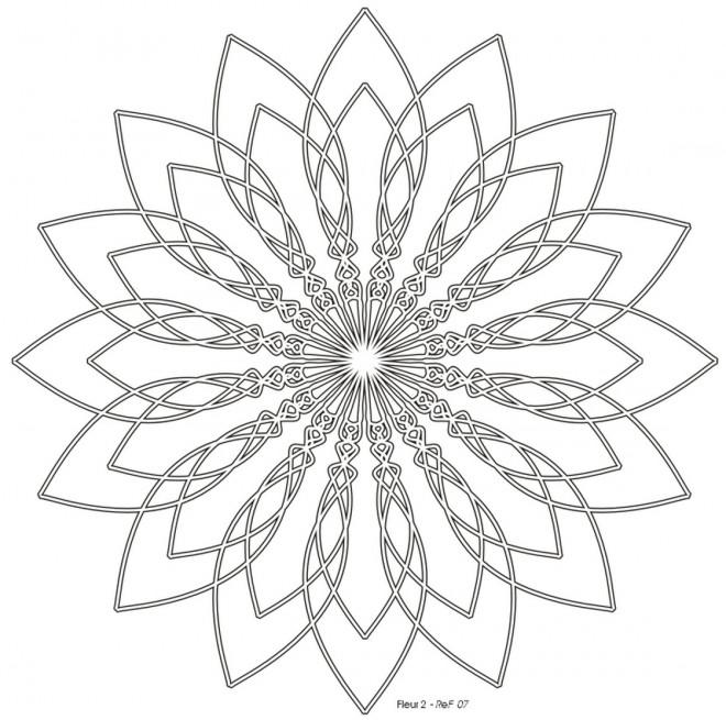 Coloriage et dessins gratuits Mandala Fleur en noir à imprimer