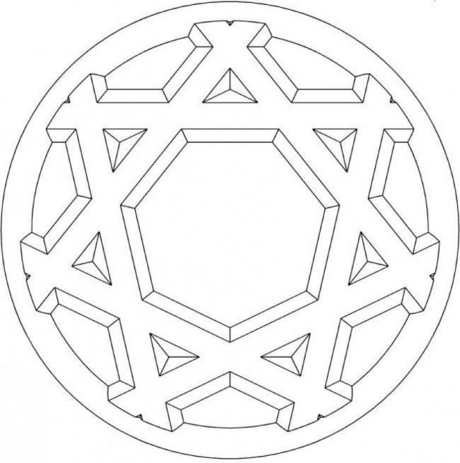 Coloriage et dessins gratuits Mandala Flocon 3D à imprimer