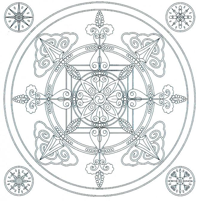 Coloriage et dessins gratuits Mandala Flocon de Neige à imprimer