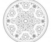 Coloriage Mandala Flocon de Neige en Blanc