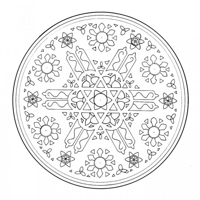 Coloriage et dessins gratuits Mandala Flocon de Neige en Blanc à imprimer