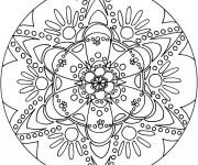 Coloriage Mandala Flocon décoré en noir