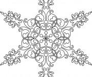 Coloriage et dessins gratuit Mandala Flocon Difficile en noir à imprimer