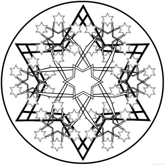 Coloriage et dessins gratuits Mandala Flocon en Étoiles à imprimer