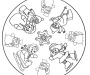 Coloriage et dessins gratuit Mandala Flocon pour enfant à imprimer
