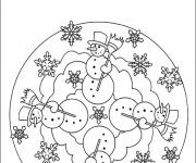 Coloriage et dessins gratuit Mandala Hiver Maternelle à imprimer