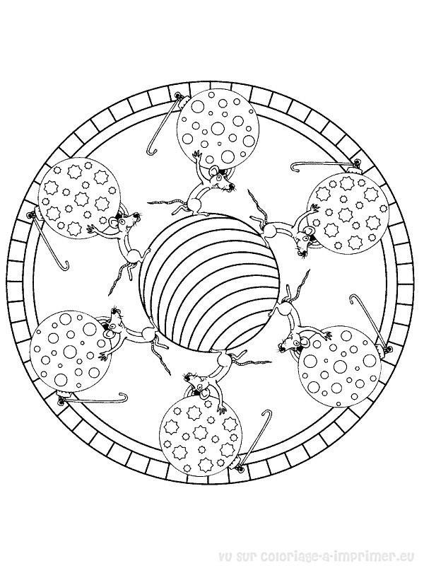 Coloriage et dessins gratuits Boule de Noël et La souris Mandala à imprimer