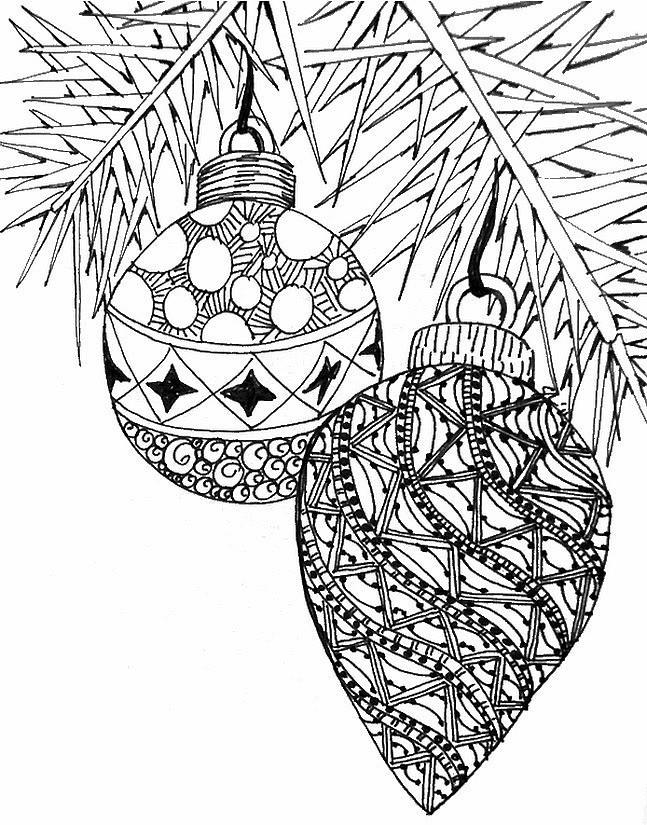 Coloriage et dessins gratuits Boules de Noel Adulte à imprimer