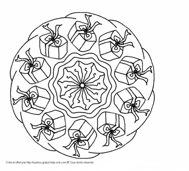 Coloriage et dessins gratuits Cadeaux de Noel Anti-Stress à imprimer