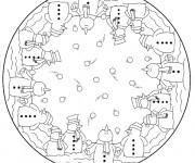 Coloriage et dessins gratuit Mandala Bonhomme de Neige à imprimer